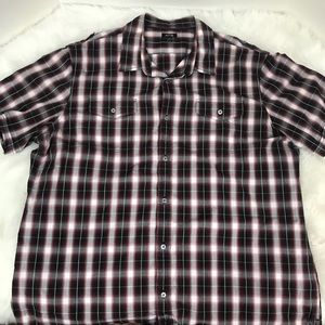 Apt 9 Red White Black Plaid Short Sleeve Shirt 2XL